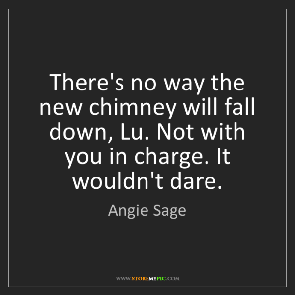 Angie Sage: There's no way the new chimney will fall down, Lu. Not...
