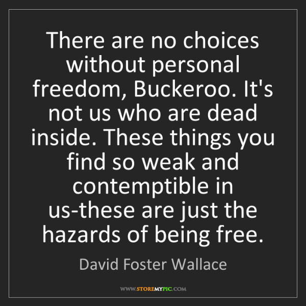 David Foster Wallace: There are no choices without personal freedom, Buckeroo....
