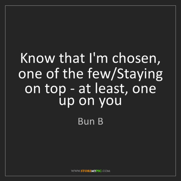 Bun B: Know that I'm chosen, one of the few/Staying on top -...