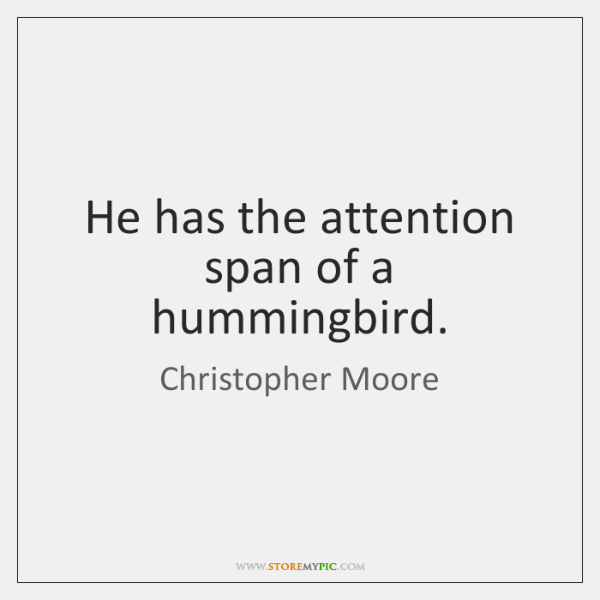 He has the attention span of a hummingbird.