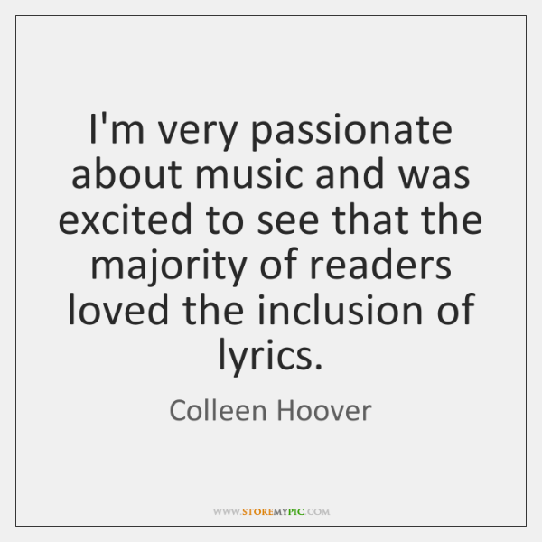 I'm very passionate about music and was excited to see that the ...