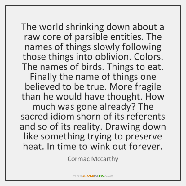 The world shrinking down about a raw core of parsible entities. The ...