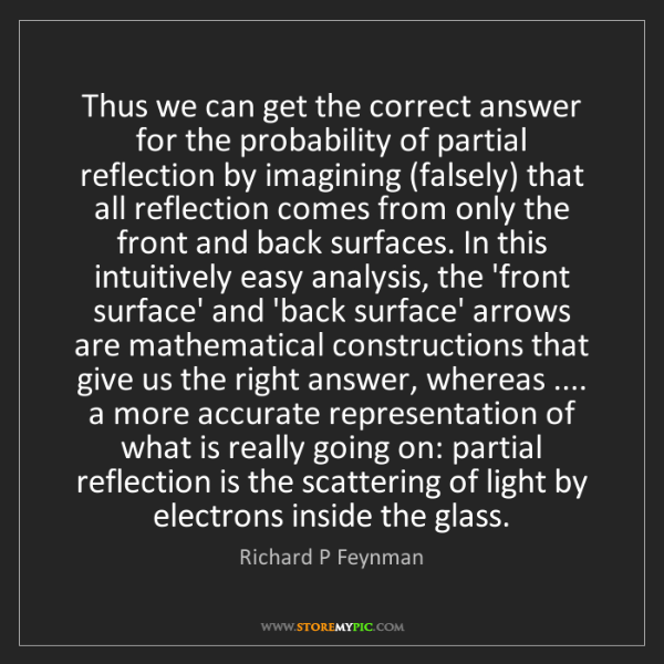 Richard P Feynman: Thus we can get the correct answer for the probability...
