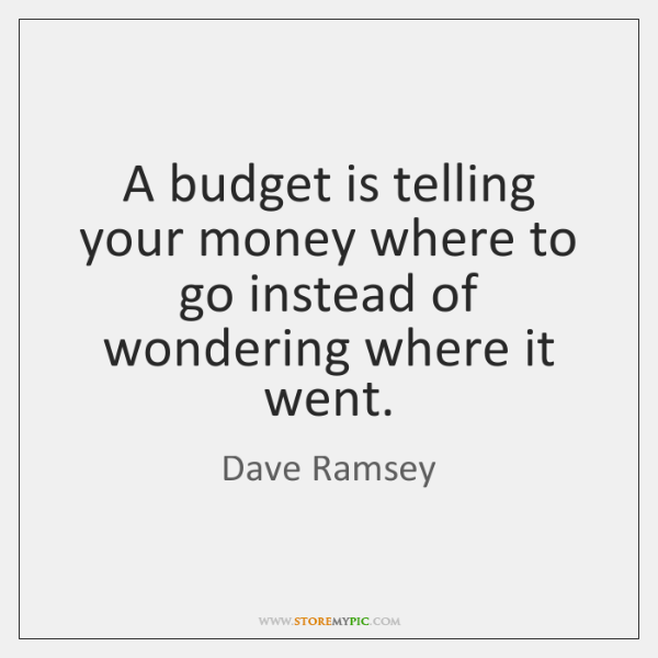 a budget is telling your money where to go instead of wondering