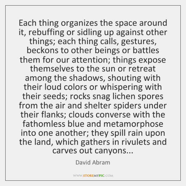 Each thing organizes the space around it, rebuffing or sidling up against ...