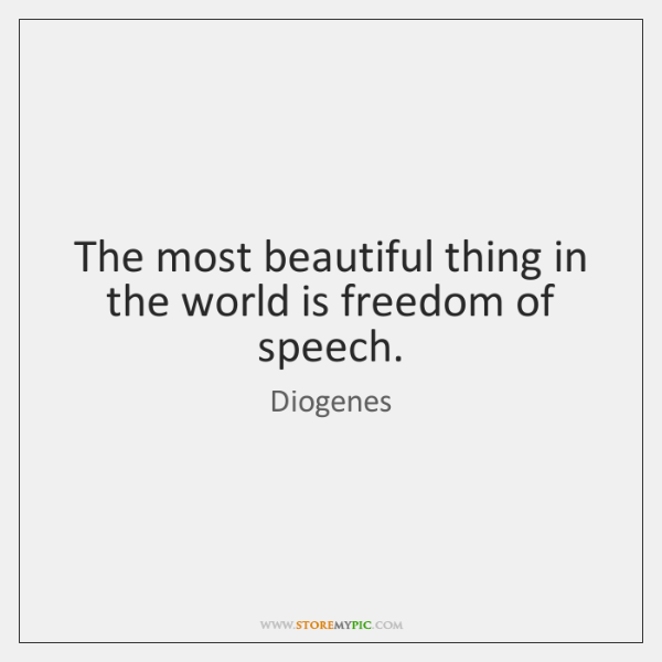 The most beautiful thing in the world is freedom of speech.