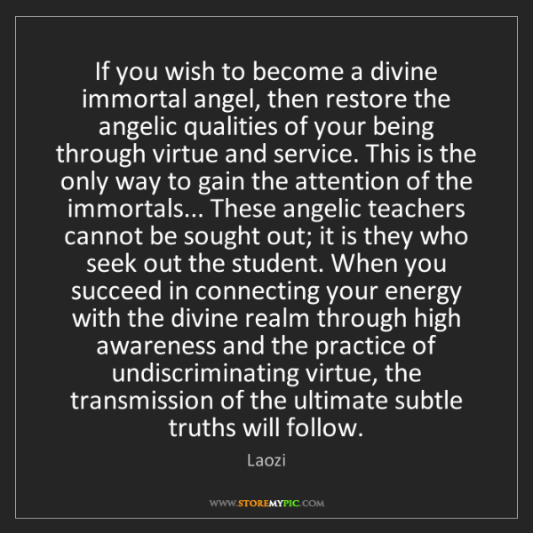 Laozi: If you wish to become a divine immortal angel, then restore...