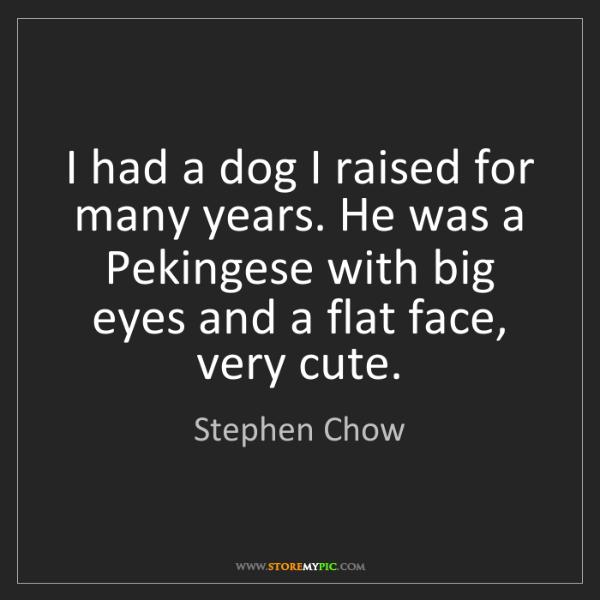 Stephen Chow: I had a dog I raised for many years. He was a Pekingese...