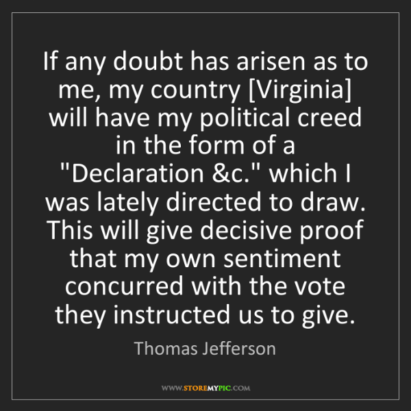 Thomas Jefferson: If any doubt has arisen as to me, my country [Virginia]...