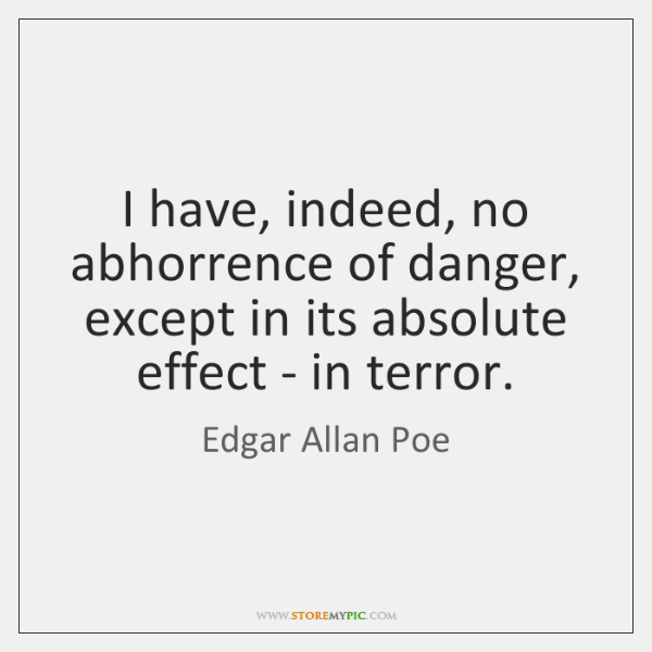 I have, indeed, no abhorrence of danger, except in its absolute effect ...