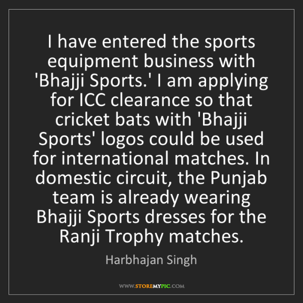Harbhajan Singh: I have entered the sports equipment business with 'Bhajji...