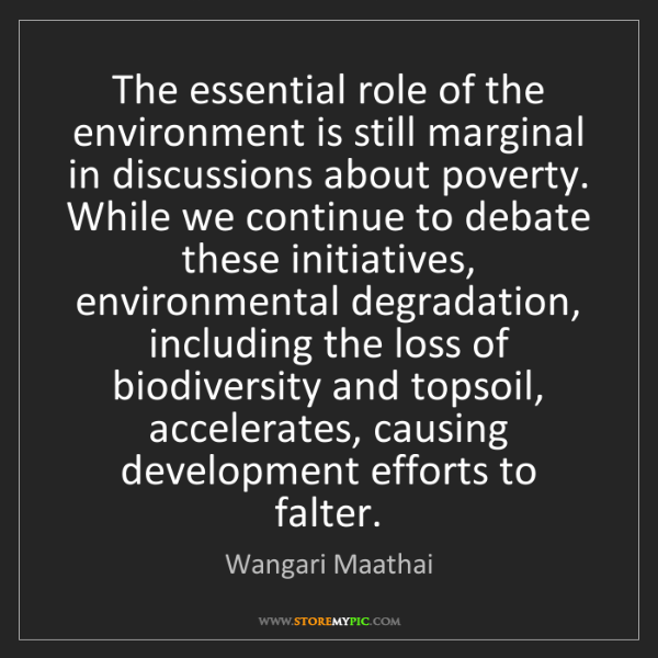 Wangari Maathai: The essential role of the environment is still marginal...