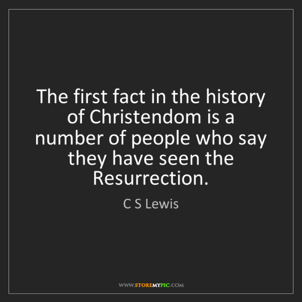 C S Lewis: The first fact in the history of Christendom is a number...