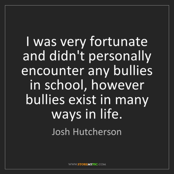 Josh Hutcherson: I was very fortunate and didn't personally encounter...