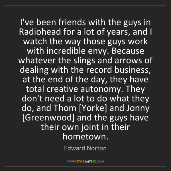 Edward Norton: I've been friends with the guys in Radiohead for a lot...