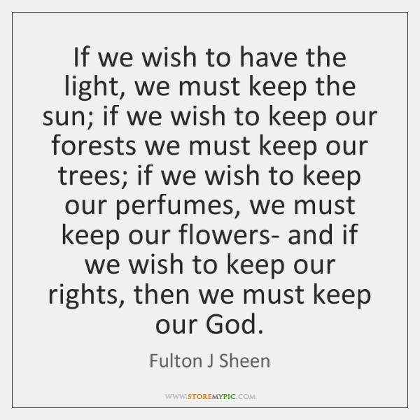 If we wish to have the light, we must keep the sun; ...