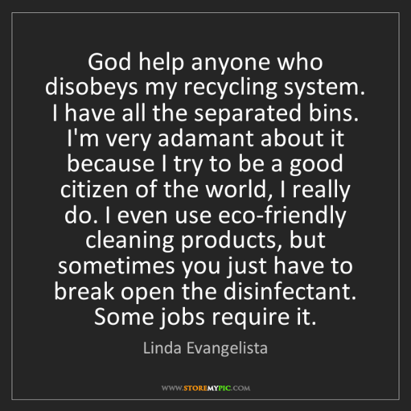 Linda Evangelista: God help anyone who disobeys my recycling system. I have...