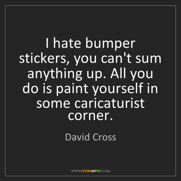 David Cross: I hate bumper stickers, you can't sum anything up. All...