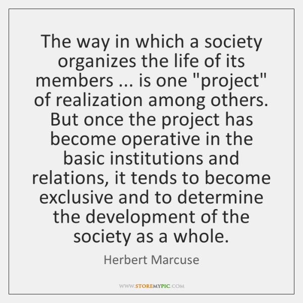 The way in which a society organizes the life of its members ... ...