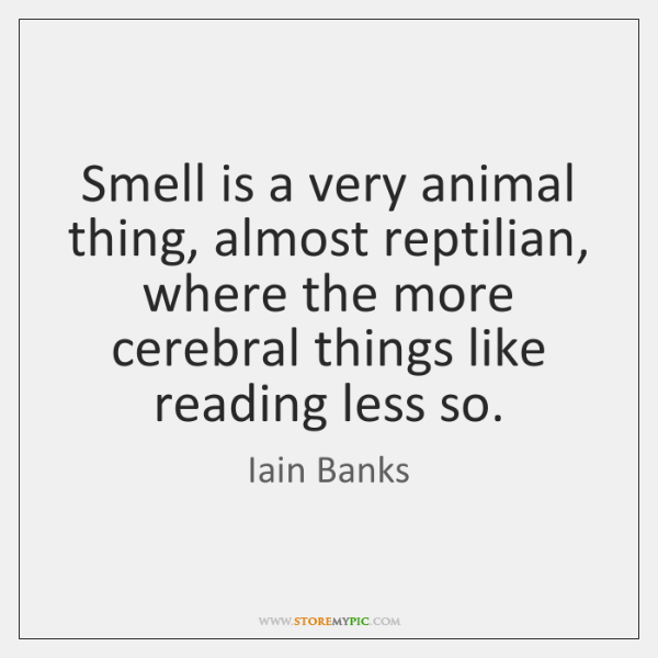 Smell is a very animal thing, almost reptilian, where the more cerebral ...