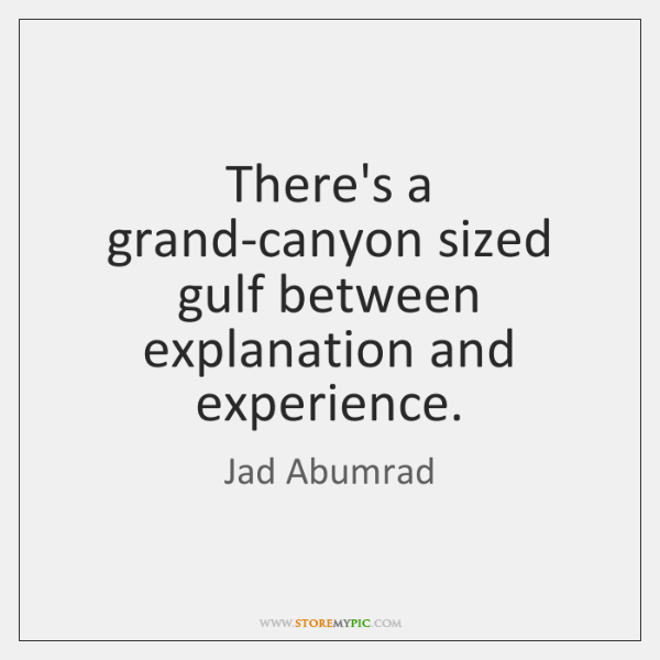 There's a grand-canyon sized gulf between explanation and experience.
