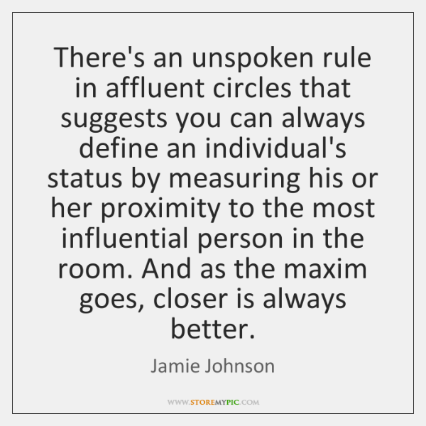 There's an unspoken rule in affluent circles that suggests you can always ...