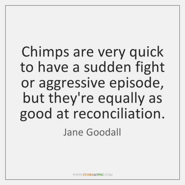 Chimps are very quick to have a sudden fight or aggressive episode, ...