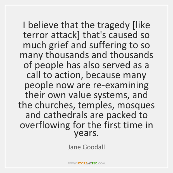 I believe that the tragedy [like terror attack] that's caused so much ...