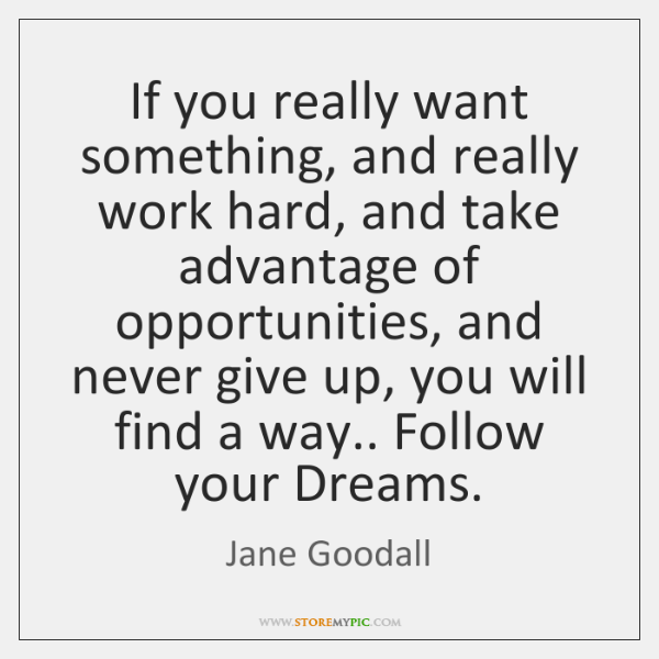 If you really want something, and really work hard, and take advantage ...