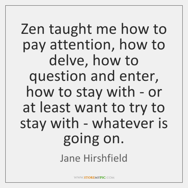Zen Taught Me How To Pay Attention How To Delve How To