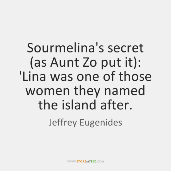 Sourmelina's secret (as Aunt Zo put it): 'Lina was one of those ...