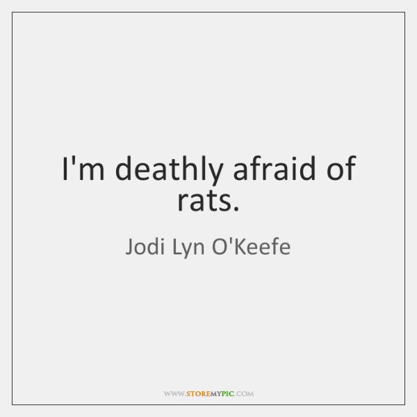 I'm deathly afraid of rats.