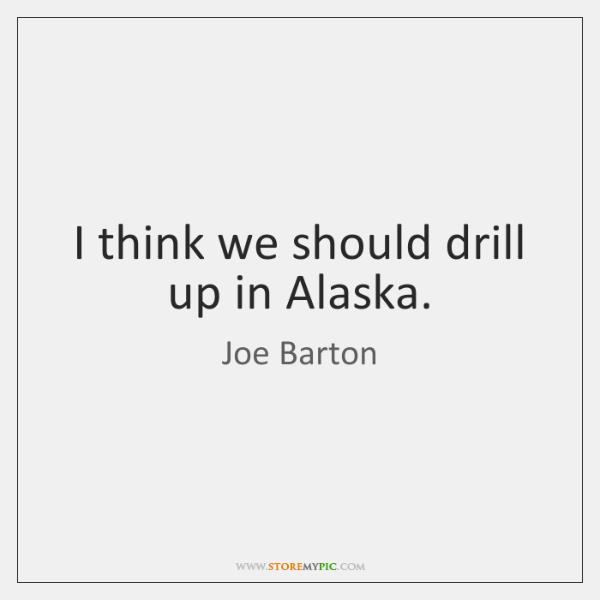 I think we should drill up in Alaska.