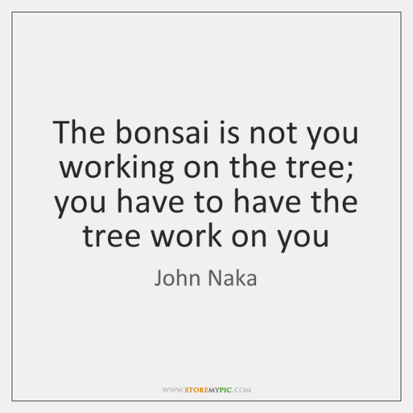 The bonsai is not you working on the tree; you have to ...