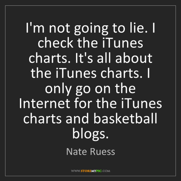 Nate Ruess: I'm not going to lie. I check the iTunes charts. It's...