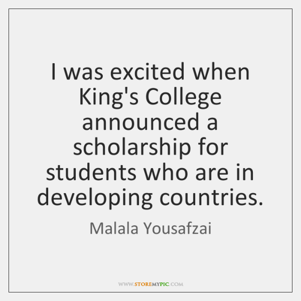 I was excited when King's College announced a scholarship for students who ...