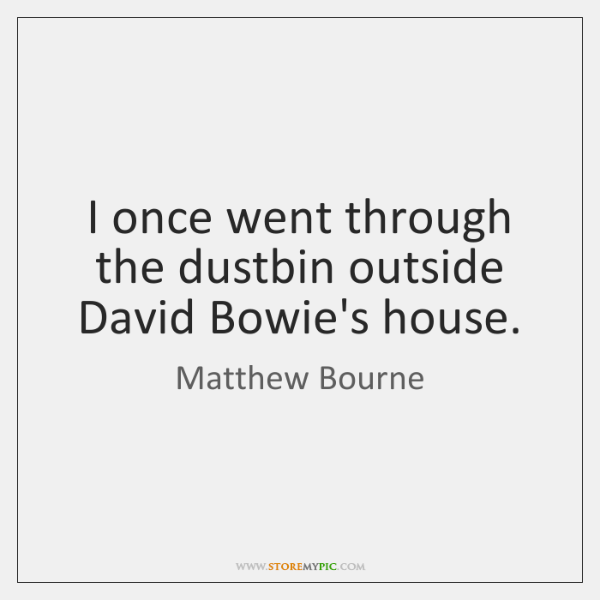 I once went through the dustbin outside David Bowie's house.
