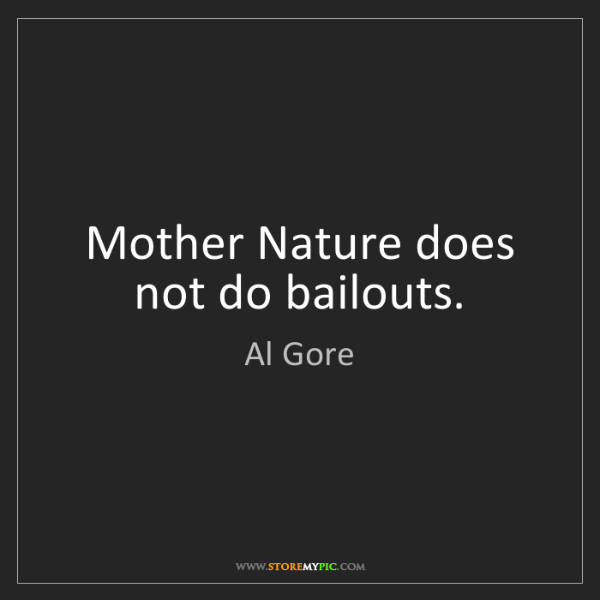 Al Gore: Mother Nature does not do bailouts.