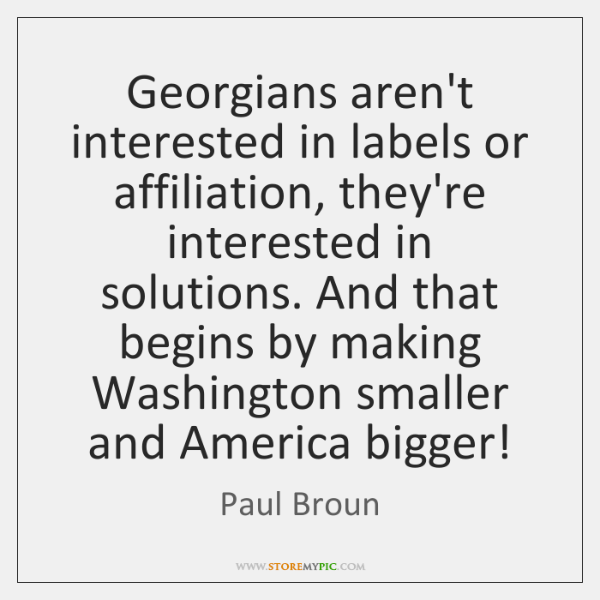 Georgians aren't interested in labels or affiliation, they're interested in solutions. And ...