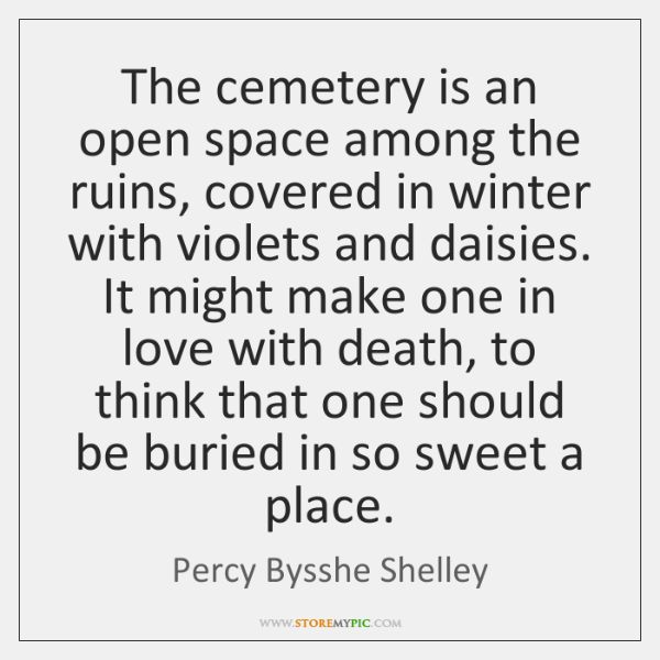 The cemetery is an open space among the ruins, covered in winter ...