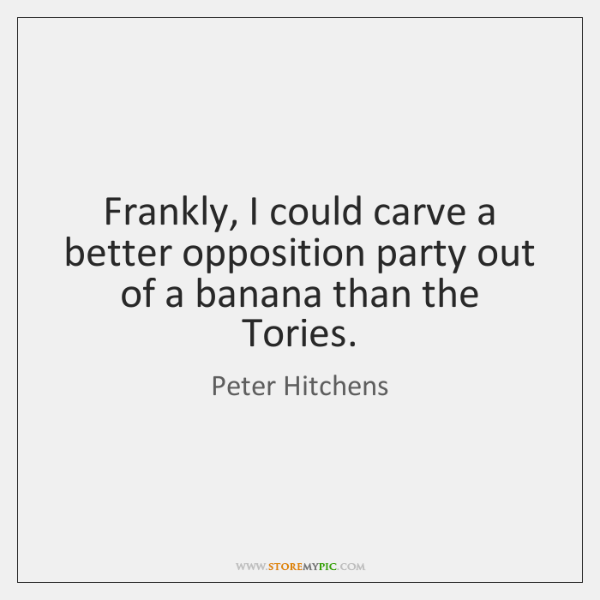 Frankly, I could carve a better opposition party out of a banana ...