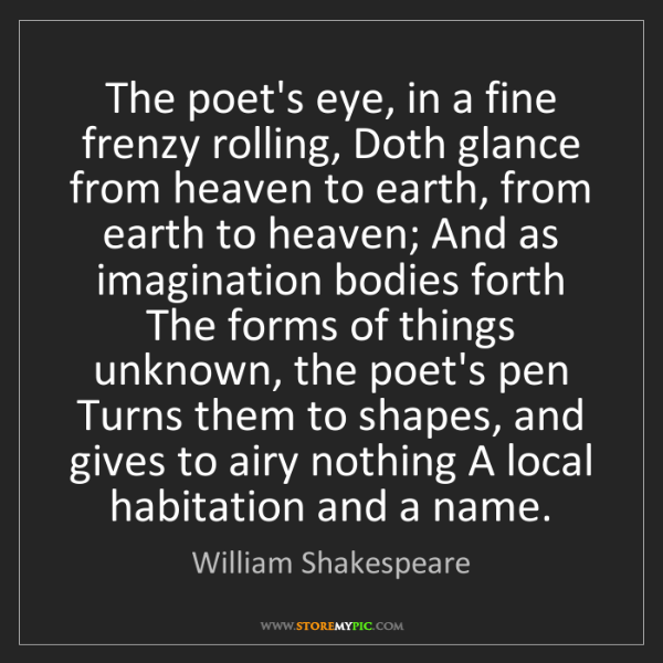 William Shakespeare: The poet's eye, in a fine frenzy rolling, Doth glance...