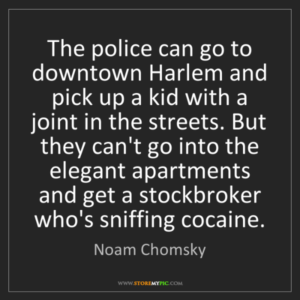 Noam Chomsky: The police can go to downtown Harlem and pick up a kid...