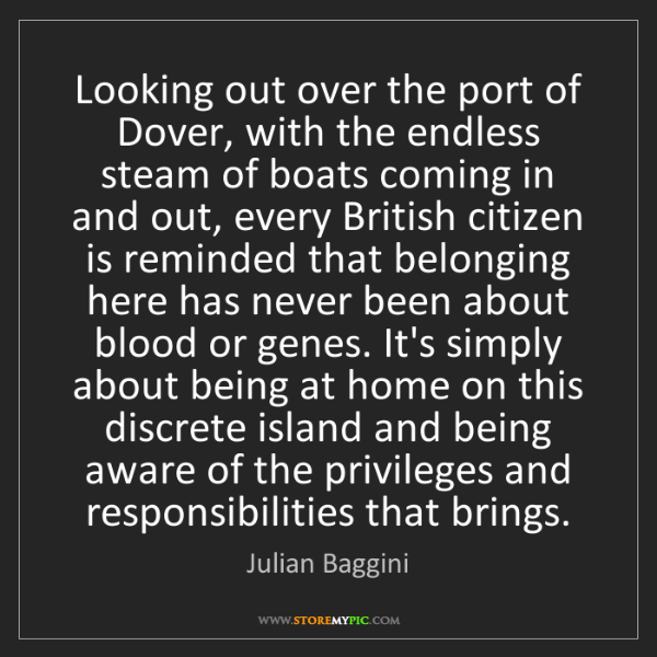 Julian Baggini: Looking out over the port of Dover, with the endless...