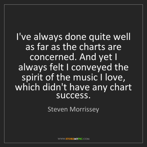 Steven Morrissey: I've always done quite well as far as the charts are...