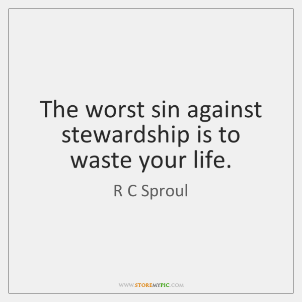 The worst sin against stewardship is to waste your life.