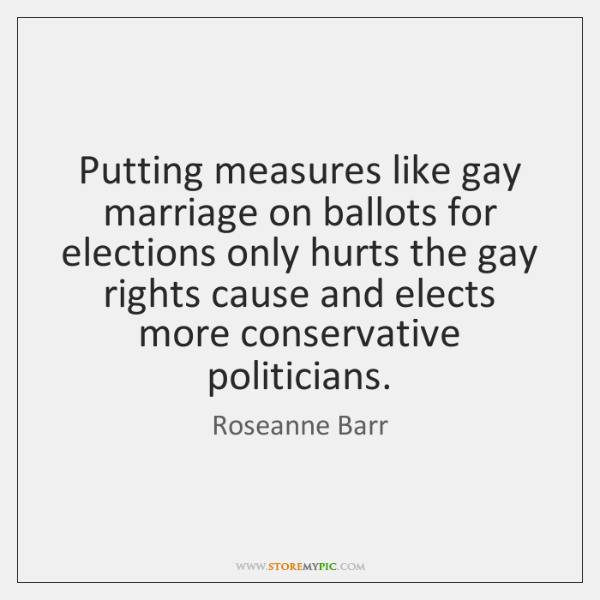 Putting measures like gay marriage on ballots for elections only hurts the ...