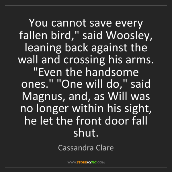 """Cassandra Clare: You cannot save every fallen bird,"""" said Woosley, leaning..."""