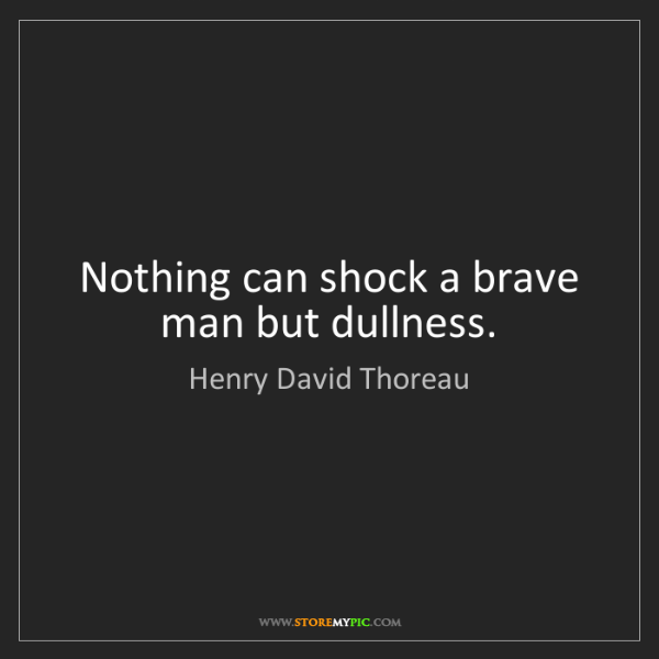 Henry David Thoreau: Nothing can shock a brave man but dullness.
