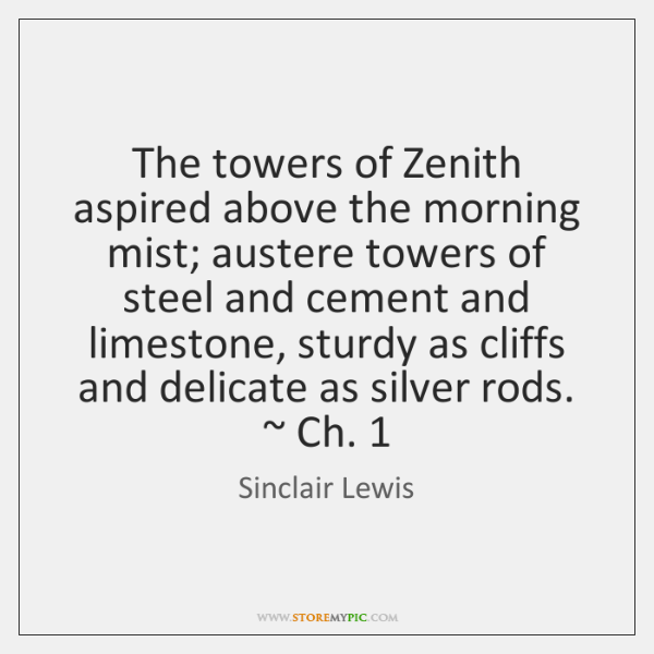 The towers of Zenith aspired above the morning mist; austere towers of ...